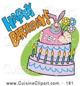 Cuisine Clipart of a Buff Dude in Bunny Ears, Popping out of a Birthday Cake by Andy Nortnik