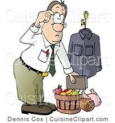 Cuisine Clipart of a Businessman Bringing Christmas Food Gifts Home from Work by Djart