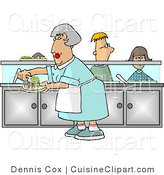 Cuisine Clipart of a Cafeteria Lady Preparing Plates of Food for School Kids Waiting in Line by Djart