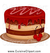 Cuisine Clipart of a Cake with Cherry Frosting by BNP Design Studio