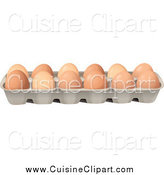 Cuisine Clipart of a Carton of Brown Natural Eggs by Graphics RF