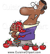 Cuisine Clipart of a Cartoon Black Business Man Holding an Armful of Apples by Toonaday