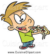 Cuisine Clipart of a Cartoon Boy Eating Cheesy Pizza by Toonaday