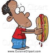 Cuisine Clipart of a Cartoon Sad Black Boy Holding a Big Hot Dog by Toonaday