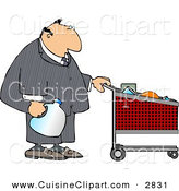Cuisine Clipart of a Caucasian Businessman Pushing a Shopping Cart in a Grocery Store by Djart