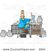 Cuisine Clipart of a Caucasian Gas Meter Repairman Sitting in His Shop Eating Lunch by Djart