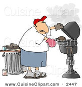 Cuisine Clipart of a Caucasian Man Putting a Hamburger on a Barbecue (BBQ) Grill by Djart