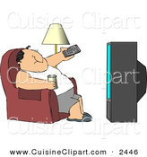 Cuisine Clipart of a Caucasian Man Sitting on a Couch, Channel Surfing the TV, and Drinking Beer by Djart