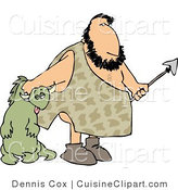 Cuisine Clipart of a Caveman Carrying Knocked out Dinosaur by Djart