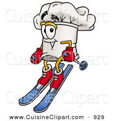 Cuisine Clipart of a Cheerful Chefs Hat Mascot Cartoon Character Skiing Downhill by Toons4Biz