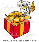 Cuisine Clipart of a Cheerful Chefs Hat Mascot Cartoon Character Standing by a Christmas Present by Toons4Biz