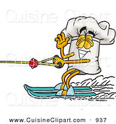 Cuisine Clipart of a Cheerful Chefs Hat Mascot Cartoon Character Waving While Water Skiing by Toons4Biz