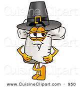Cuisine Clipart of a Cheerful Chefs Hat Mascot Cartoon Character Wearing a Pilgrim Hat on Thanksgiving by Toons4Biz