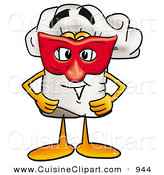 Cuisine Clipart of a Cheerful Chefs Hat Mascot Cartoon Character Wearing a Red Mask over His Face by Toons4Biz