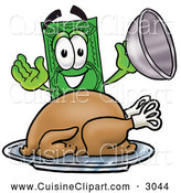 Cuisine Clipart of a Cheerful Dollar Bill Mascot Cartoon Character Serving a Thanksgiving Turkey on a Platter by Toons4Biz