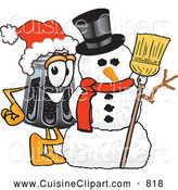Cuisine Clipart of a Cheerful Pepper Shaker Mascot Cartoon Character with a Snowman on Christmas by Toons4Biz