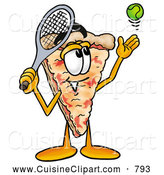 Cuisine Clipart of a Cheerful Slice of Pizza Mascot Cartoon Character Preparing to Hit a Tennis Ball by Toons4Biz
