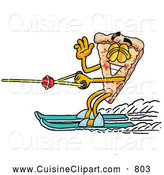 Cuisine Clipart of a Cheerful Slice of Pizza Mascot Cartoon Character Waving While Water Skiing by Toons4Biz
