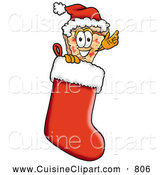 Cuisine Clipart of a Cheerful Slice of Pizza Mascot Cartoon Character Wearing a Santa Hat Inside a Red Christmas Stocking by Toons4Biz