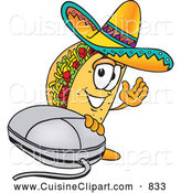 Cuisine Clipart of a Cheerful Taco Mascot Cartoon Character with a Computer Mouse by Toons4Biz