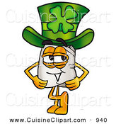 Cuisine Clipart of a Cheerful White Chefs Hat Mascot Cartoon Character Wearing a Saint Patricks Day Hat with a Clover on It by Toons4Biz