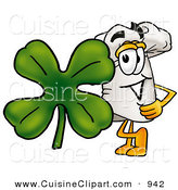 Cuisine Clipart of a Cheerful White Chefs Hat Mascot Cartoon Character with a Green Four Leaf Clover on St Paddy's or St Patricks Day by Toons4Biz