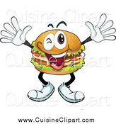 Cuisine Clipart of a Cheering Cheeseburger by Graphics RF