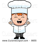 Cuisine Clipart of a Cheering Chef Boy by Cory Thoman
