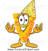 Cuisine Clipart of a Cheese Character Wearing a Party Hat by Toons4Biz