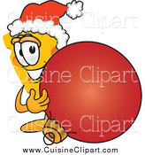 Cuisine Clipart of a Cheese Mascot and a Christmas Bauble by Toons4Biz