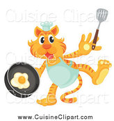 Cuisine Clipart of a Chef Tiger Frying Eggs by Graphics RF