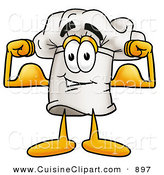 Cuisine Clipart of a Chefs Hat Mascot Cartoon Character Flexing His Strong Arm Muscles by Toons4Biz