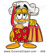 Cuisine Clipart of a Chefs Hat Mascot Cartoon Character in Orange and Red Snorkel Gear, Getting Ready to Swim by Toons4Biz