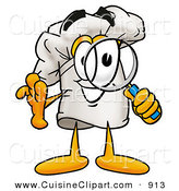 Cuisine Clipart of a Chefs Hat Mascot Cartoon Character Looking Through a Magnifying Glass and Grinning by Toons4Biz
