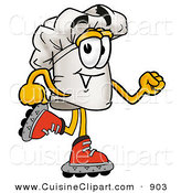 Cuisine Clipart of a Chefs Hat Mascot Cartoon Character Roller Blading on Inline Skates Skating to the Right by Toons4Biz