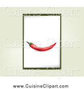 Cuisine Clipart of a Chili Pepper Frame over Beige by
