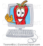 Cuisine Clipart of a Chili Pepper Mascot Cartoon Character Waving in a Computer Monitor Screen by Toons4Biz