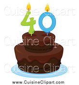 Cuisine Clipart of a Chocolate Birthday Cake with a 40 Lit Candle by Graphics RF