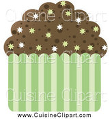 Cuisine Clipart of a Chocolate Cupcake with Burst Sprinkles by Melisende Vector