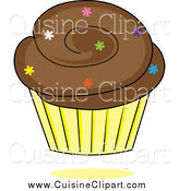 Cuisine Clipart of a Chocolate Cupcake with Colorful Sprinkles in a Yellow Wrapper by Pams Clipart