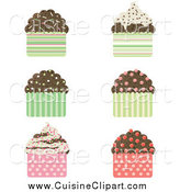 Cuisine Clipart of a Chocolate Cupcakes with Sprinkles and Patterned Wrappers by Melisende Vector