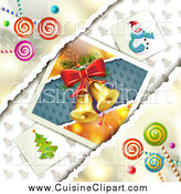 Cuisine Clipart of a Christmas Candy Background and Bells by Merlinul