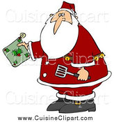 Cuisine Clipart of a Christmas Santa Claus Holding a Green Holly Hot Pad and Spatula in the Kitchen by Djart