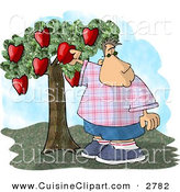 Cuisine Clipart of a Chubby Boy Picking a Red Apple from an Apple Tree in an Orchard on White by Djart