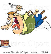 Cuisine Clipart of a Chubby Crazed Caucasian Man Diving Towards a Cake with a Fork by Toonaday