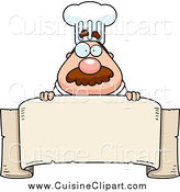 Cuisine Clipart of a Chubby Male Chef over a Blank Banner by Cory Thoman