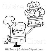 Cuisine Clipart of a Coloring Page of a Cake Chef by Hit Toon