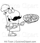 Cuisine Clipart of a Coloring Page of a Chef Carrying a Pizza Pie on a Stove Shovel by Hit Toon