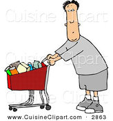 Cuisine Clipart of a Confused Man Pushing a Shopping Cart Filled with Food in a Grocery Store by Djart