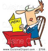Cuisine Clipart of a Confused White Man Sitting at a Table and Reading a Menu at a Restaurant by Toonaday